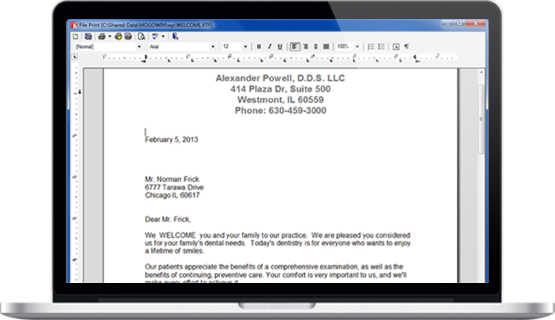 Create Templates in Dental Practice Management Software built-in word processor