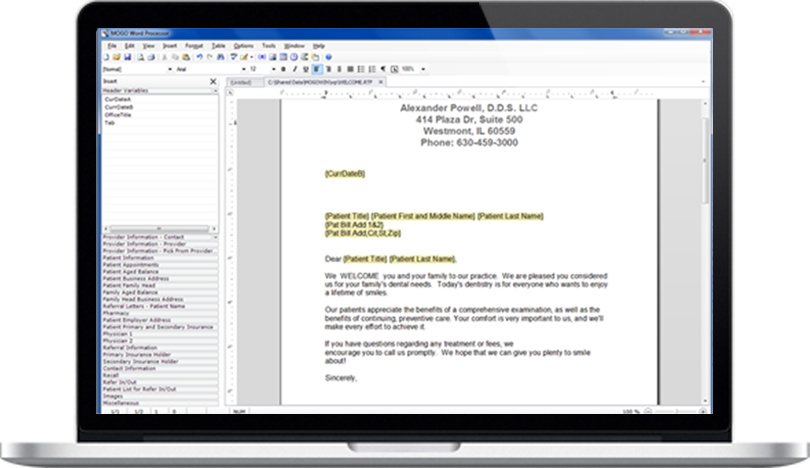 Dental Practice Management Software Built-in Word Processor Feature